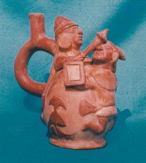 Рисунок 9. Керамический сосуд с воином, бьющим maza или clava по черепу своего противника.