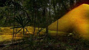 Неозброєним оком тут можна побачити лише ліс і зарослий пагорб, але LiDAR показав, що під ним приховано піраміду стародавніх майя