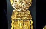 1/2. Серьги с подвеской. Место обнаружения - Фриас I. Золото, хризоколла. 29.0х 10,2 см / 29,0 х 10,6 см. Ранний промежуточный период (200 до н.э.-700 н.э.)