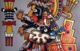 """Кодекс Борджиа. Кетцалькоатль на троне""  масло, акрил, стеклохолст, ДВП, 60х60см. 2016г."