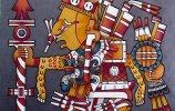 """""""Кодекс Борджиа. Шипе Тотек""""  масло, акрил, стеклохолст, ДВП, 60х60см. 2016г."""