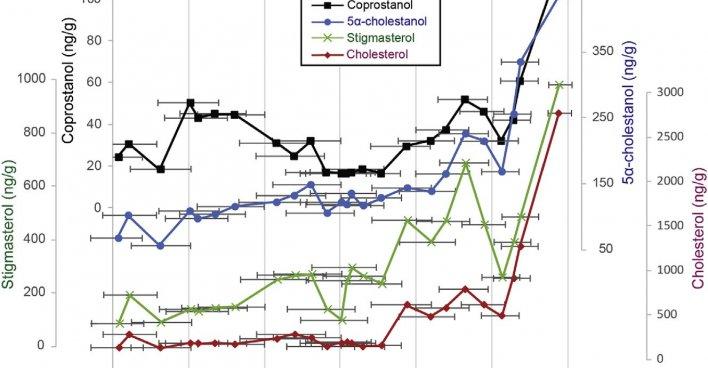 Изменение содержания станолов и стеролов в керне со временем. Чёрный график — копростанол. График: A.J.White и др.