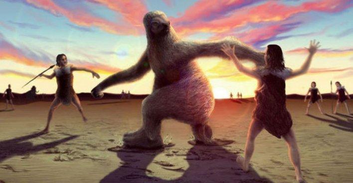 Обнаружено свидетельство охоты палеоиндейцев на гигантских ленивцев. Илл.: Alex McClelland/Bournemouth University